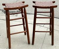 "Antique Pair 28"" Arts and Crafts Woven Rattan Wicker Seat Oak Wood Bar Stools"