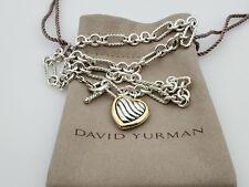 David Yurman Sterling Silver 18K Gold Figaro Chain Heart Charm Necklace 16 in