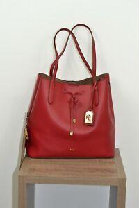 NWOT Lauren Ralph Lauren Oversized red leather Debby Bucket Drawstring tote bag