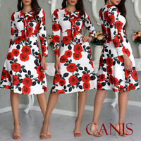 Womens Floral Long Maxi Dress Long Sleeve Evening Party Summer Beach Sundress