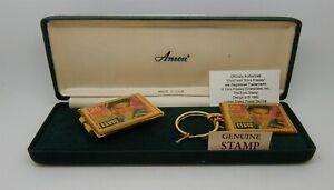 Vintage 1992 USPS Elvis Stamp ANSON Money Clip Key Ring Set in Orig Jewelry Box