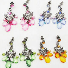 1.75 in PINK BLUE GREEN GOLD CRYSTAL ACRYLIC DROP SILVER BUTTERFLY EARRINGS NEW