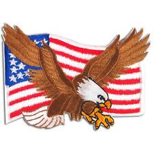 American Flag Bald Eagle USA Military Biker Embroidered Iron on Patch