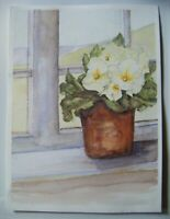 "Original Unsigned Watercolour Painting ~ Flowering Plant in Window ~13.75"" x 10"""
