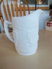"Vintage Milk Glass Grape Pattern 6"" Tall Opaque Pitcher"