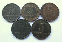 Kaiserreich Lot von 5 x 5 Pfennig 1915, 1917, 1919, 1920, 1921