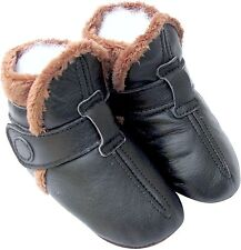 carozoo booties black 0-6m soft sole leather baby shoes