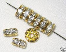 100 Swarovski Rhinestone Rondelles 6mm Gold/Crystal (F)