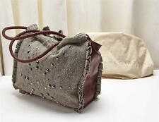 STELLA MCCARTNEY Gray Tweed Studded Faux Leather Tote Bag Handbag Purse RT$760