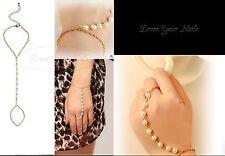 Pulsera De Cadena Con Cadena anillo de dedo Pearl arnés Bisutería Boda