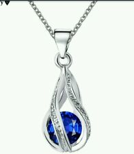 Crystal Necklaces drop blue silver wedding bridesmaid prom birthday 842