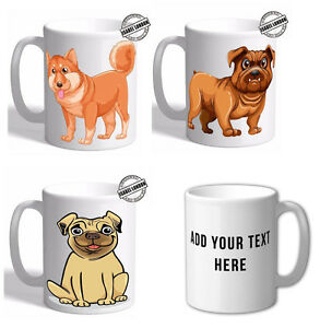 Personalised English French Bulldog Pug Mug Cup. Customise with your own text.