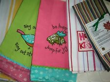 New listing Lot 8 Everyday Kitchen Towels Waffle Weave Frog Bird Recipe Hugs Most Unused