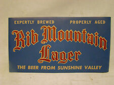 1930s Rib Mountain Lager Beer Poster/Sign Wausau Wi Wisconsin 1940s Beer Bar Pub