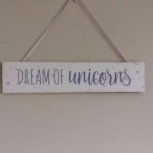 LILAC AND WHITE  UNICORN  HANGING SIGN Plaque Dream of Unicorns