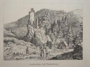 Lauterstein bei Marienberg - Ludwig Richter - Radierung - Burgruine Natur - 1850