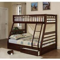 Bunk Beds Kids Twin Over Full Wooden Bed Frame 2 Storage Drawer Ladder Furniture