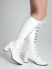 Womens Ladies White  Go Go Fancy Dress Retro 60's 70's Knee high boots Size 3-8