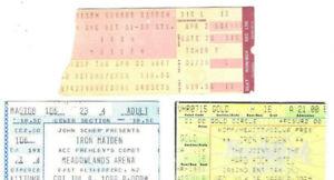 Iron Maiden 3 Ticket Stub Lot 87-98