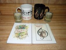 Music Treasures , music lover lot candles, Christmas cards + coffee cups mugs