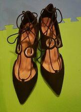 Black suede eyelet laceup heels – UK size 7