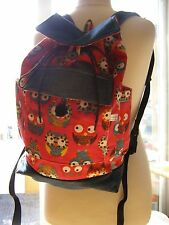 HANDMADE FULLY LINED BACKPACK RUCKSACK DENIM & RED OWL CANVAS FABRIC