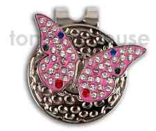 LADIES BUTTERFLY METAL GOLF BALL MARKER W/ MAGNETIC HAT CLIP