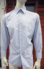 """Brioni Blue & White Double Cuff Made to Measure Cotton Shirt UK 17.5"""" 44cm Short"""