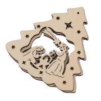 10 x Ornamenti di Natale Legno appeso Hollow Decorazioni di Natale Colore d Q3M1