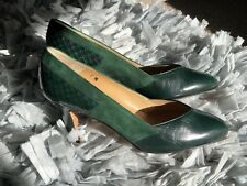 7 Womens Vintage Calvin Klein Green Leather Aligator Suede Classic Pumps Heels