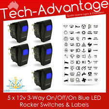 5 X BLUE LED THREE WAY 3 WAY ON/OFF/ON ROCKER SWITCH & LABELS - BOAT/CARAVAN