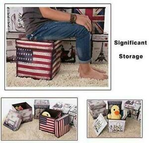 Folding Storage Ottoman Seat Stool Storage Boxes Home Chair Footstool Bench Lid