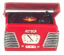 Dollhouse Miniature - 1950s Record Player / Turntable - Red - 1/12 Scale