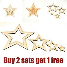Set 4 Wooden Stars Fit Inside Each Other Decoration Craft Ready to Paint 20cm