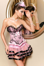Pink and Black Corset, Skirt, and Panties - L427-M