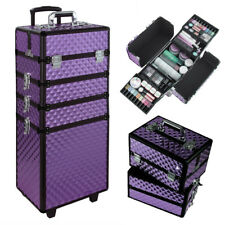 Pro Make Up Trolley Case 4 In 1 Manicure Cosmetic Hairdressing Box Trunk Purple