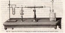 GRAVURE 1890 ENGRAVING INDUSTRIE EAU APPAREIL DE BERZELIUS ET DULONG
