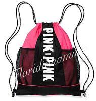 New Victoria's Secret Logo Drawstring Backpack Bookbag Neon Pink/Black Logo NWT
