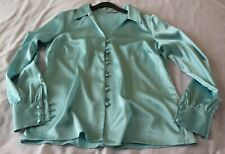 Ladies Sea Blue Colour Blouse. Button Front. V Neck. Long Sleeve. Size 10. New