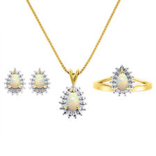 Diamond & Opal Matching Earrings, Pendant Necklace and Ring Set In Yellow Gold