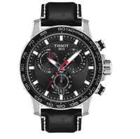 Authentic Tissot Supersport Chrono Black Leather Men's Watch T1256171605100