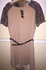 Oasis dress size 12 Shift Dress Lace Sleeves Beige And Black Cream With Belt