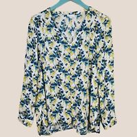 J. JILL Floral Button Front Blouse Top Long Sleeve Rayon Size Large