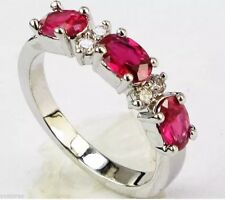 Stunning Fun Fashion Simulated Red Ruby & Crystal Sz 9 Silver Tone Ring