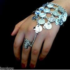 Bauchtanz  Sklavenarmband Handschmuck Armband mit Ring Münzen Silber Orient