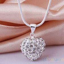 Women Necklace Fashion CZ Crystal Heart Chain Pendants Love Couple Charm Jewelry