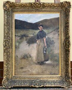Frau in den Dünen Olof Jernberg (1855-1935) Deutscher Maler Ölgemälde 63,5x51,5