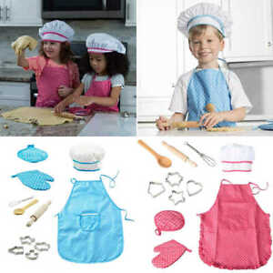 11pcs Childs Chef Apron Hat Set Childrens Kichen Cooking Baking Cooks Kids Toys