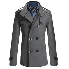 Men Fashion Winter Trench Coat Double Breasted Overcoat Long Wool Jacket Outwear