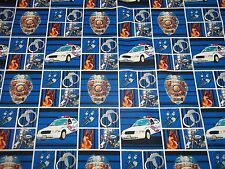 POLICE OFFICER  NEW SQUARE FABRIC DESIGN 100% COTTON 1/2 YD PIECE GREAT DESIGN